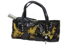Black/Gold Reversible Glitter Wine Purse