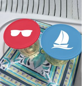 red sunglasses blue sailboat