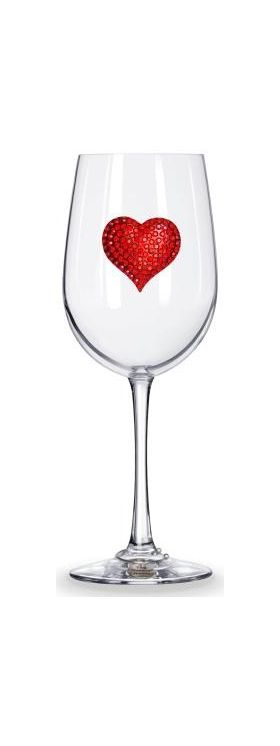 Jewel Heart Wine Glass